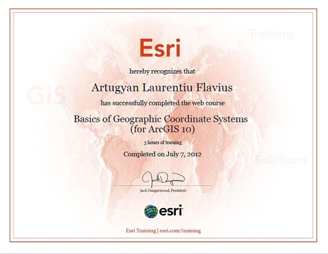 Certificat ESRI online