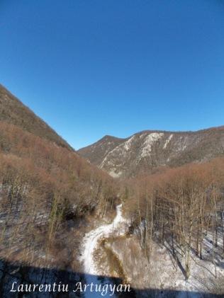 Peisaj iarna pe calea ferata Anina - Oravita