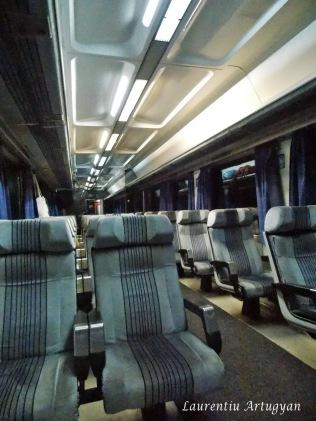 Interior vagon tren spre Bar