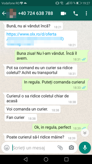 Contact OLX prin Whatsapp